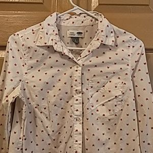 Old Navy foxes button down shirt white size Small